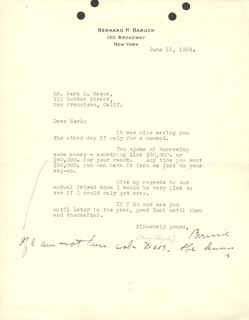 Autographs: BERNARD M. BARUCH - ANNOTATED TYPED LETTER TWICE SIGNED 06/15/1934