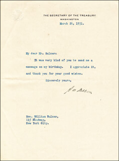 ANDREW MELLON - TYPED LETTER SIGNED 03/26/1931