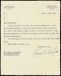 CHIEF JUSTICE CHARLES E HUGHES - TYPED LETTER SIGNED 07/24/1929