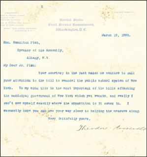 Autographs: PRESIDENT THEODORE ROOSEVELT - TYPED LETTER SIGNED 03/19/1895