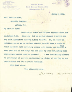 PRESIDENT THEODORE ROOSEVELT - TYPED LETTER SIGNED 03/01/1895