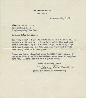 FIRST LADY ELEANOR ROOSEVELT - TYPED LETTER SIGNED 11/21/1932