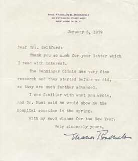 FIRST LADY ELEANOR ROOSEVELT - TYPED LETTER SIGNED 01/06/1959