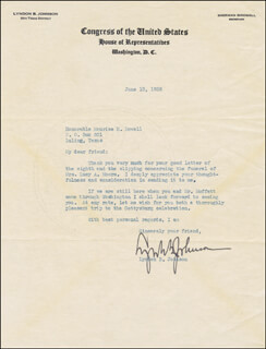 PRESIDENT LYNDON B. JOHNSON - TYPED LETTER SIGNED 06/13/1938