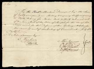 MAYOR THOMAS SEYMOUR - AUTOGRAPH DOCUMENT SIGNED 07/06/1775 CO-SIGNED BY: EZEKIEL WILLIAMS, ABRAHAM DAVENPORT, CHIEF JUSTICE OLIVER ELLSWORTH