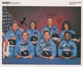 SPACE SHUTTLE CHALLENGER - STS - 51L CREW - PRINTED PHOTOGRAPH SIGNED IN INK CO-SIGNED BY: LT. COLONEL ELLISON S. EL ONIZUKA, GREG JARVIS, RONALD E. McNAIR, LT. COLONEL DICK (FRANCIS R.) SCOBEE, CHRISTA McAULIFFE, JUDITH A. JUDY RESNIK, CAPTAIN MICHAEL J. SMITH - HFSID 334947