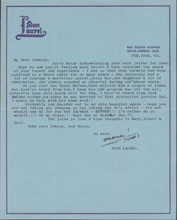 LAUREL & HARDY (STAN LAUREL) - TYPED LETTER SIGNED 02/18/1963