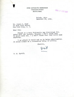 Autographs: REAR ADMIRAL RICHARD E. BYRD - TYPED LETTER SIGNED 12/15/1930