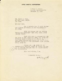 Autographs: REAR ADMIRAL RICHARD E. BYRD - TYPED LETTER SIGNED 10/10/1926