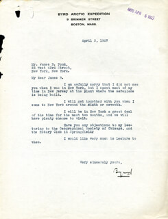 Autographs: REAR ADMIRAL RICHARD E. BYRD - TYPED LETTER SIGNED 04/03/1927