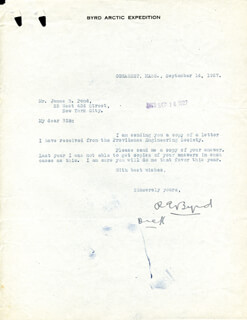 Autographs: REAR ADMIRAL RICHARD E. BYRD - TYPED LETTER SIGNED 09/14/1927