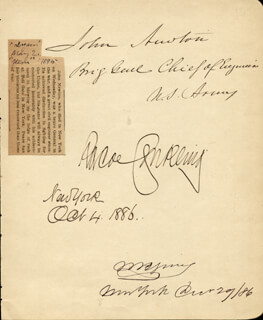 Autographs: ROSCOE CONKLING - SIGNATURE(S) 10/04/1886 CO-SIGNED BY: MAJOR GENERAL JOHN NEWTON