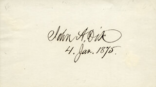 Autographs: MAJOR GENERAL JOHN A. DIX - SIGNATURE(S) 01/04/1875