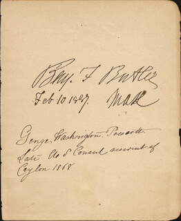 MAJOR GENERAL BENJAMIN F. BUTLER - AUTOGRAPH 02/10/1887 CO-SIGNED BY: GEORGE WASHINGTON PRESCOTT, GEORGE C. HIGGINS, MAJOR ISAAC H. STEARNS, ELIZABETH EMERSON BRADBURY STEARNS