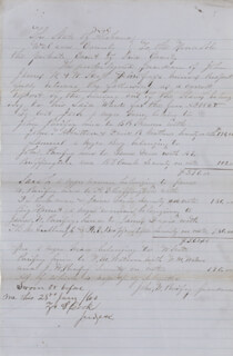 SLAVE PAPER - AUTOGRAPH DOCUMENT SIGNED 1860