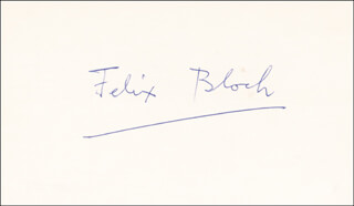 Autographs: FELIX BLOCH - SIGNATURE(S)