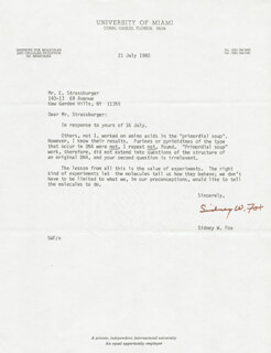 SIDNEY W. FOX - TYPED LETTER SIGNED 07/21/1980