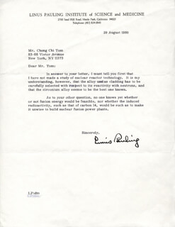 LINUS PAULING - TYPED LETTER SIGNED 08/29/1980