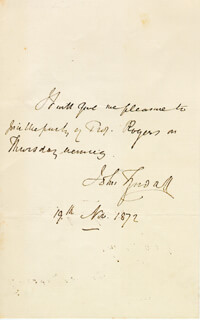 JOHN TYNDALL - AUTOGRAPH NOTE SIGNED 11/19/1872