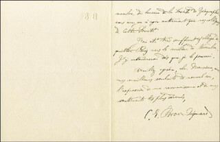 CHARLES E. BROWN-SEQUARD - AUTOGRAPH LETTER SIGNED 12/28/1885