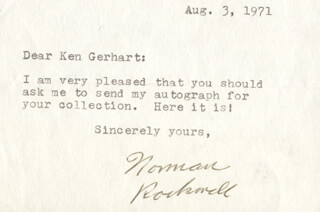 NORMAN ROCKWELL - TYPED NOTE SIGNED 08/03/1971