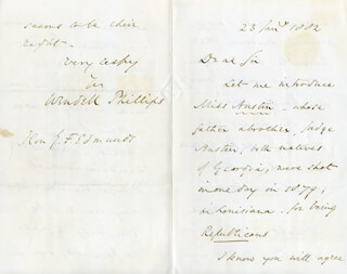 Autographs: WENDELL PHILLIPS - AUTOGRAPH LETTER SIGNED 01/23/1882