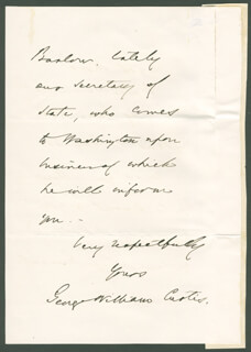 GEORGE WILLIAM CURTIS - AUTOGRAPH LETTER SIGNED 06/19/1868