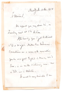 GEORGE BANCROFT - AUTOGRAPH LETTER SIGNED 12/10/1858 CO-SIGNED BY: ELIZABETH BANCROFT