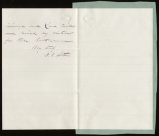 WILLIAM E. ARTHUR - AUTOGRAPH LETTER SIGNED 05/05/1873