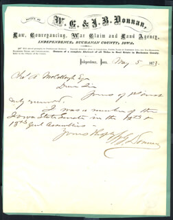 WILLIAM G. DONNAN - AUTOGRAPH NOTE SIGNED 05/05/1873