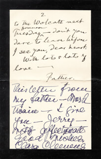 SAMUEL L. MARK TWAIN CLEMENS - AUTOGRAPH LETTER SIGNED CO-SIGNED BY: CLARA CLEMENS-GABRILOWITSCH