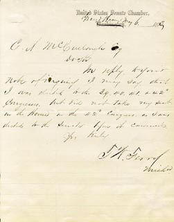 THOMAS W. FERRY - AUTOGRAPH LETTER SIGNED 05/06/1873
