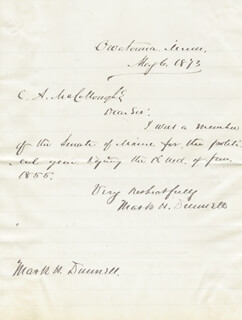 MARK H. DUNNELL - AUTOGRAPH LETTER DOUBLE SIGNED 05/06/1873