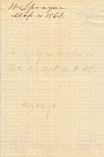 GENERAL WILLIAM SPRAGUE - AUTOGRAPH 03/04/1863