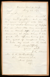 BRIGADIER GENERAL JAMES L. ALCORN - AUTOGRAPH LETTER SIGNED 05/23/1873