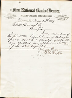 Autographs: JEROME BUNTY CHAFFEE - AUTOGRAPH LETTER SIGNED 05/20/1873