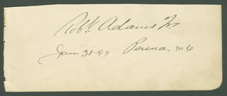 Autographs: ROBERT ADAMS JR. - SIGNATURE(S) 01/31/1899 CO-SIGNED BY: ROBERT G. COUSINS