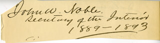 Autographs: JOHN W. NOBLE - SIGNATURE(S) 1889