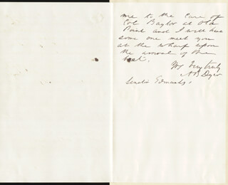 Autographs: MAJOR GENERAL ALEXANDER BRYDIE DYER - AUTOGRAPH LETTER SIGNED 06/01/1870
