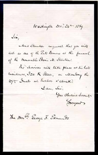 SAMUEL HOOPER - AUTOGRAPH NOTE SIGNED 12/24/1869