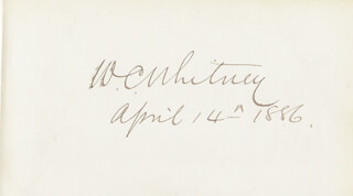 WILLIAM COLLINS WHITNEY - AUTOGRAPH 04/14/1886