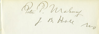 PETER P. MAHONEY - AUTOGRAPH CO-SIGNED BY: JOHN B. HALE