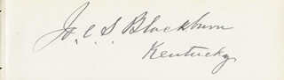 JOSEPH CLAY S. BLACKBURN - AUTOGRAPH