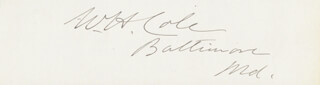 WILLIAM HINSON COLE - AUTOGRAPH