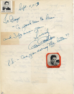CARMEN CAVALLARO - AUTOGRAPH NOTE SIGNED 09/11/1953 CO-SIGNED BY: JEAN HOWELL, MARY ROSE BRUCE