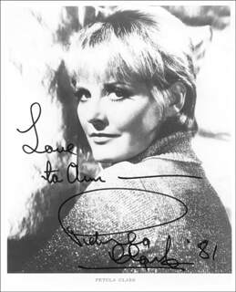 PETULA CLARK - AUTOGRAPHED INSCRIBED PHOTOGRAPH 1981