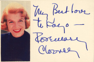 ROSEMARY CLOONEY - INSCRIBED SIGNATURE