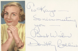 DOROTHY COLLINS - AUTOGRAPH NOTE SIGNED