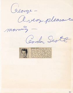 GORDON SCOTT - INSCRIBED SIGNATURE CO-SIGNED BY: JOE DARENSBOURG, HARVEY O. BROOKS