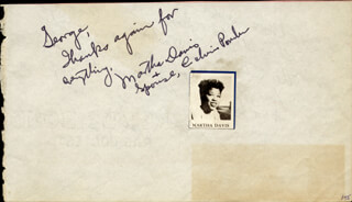 MARTHA DAVIS - AUTOGRAPH NOTE SIGNED CO-SIGNED BY: CAROLINA COTTON, CALVIN PONDER